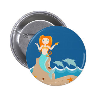 Mermaid and dolphins birthday party 6 cm round badge