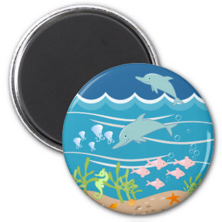 Mermaid and dolphins birthday party 6 cm round magnet