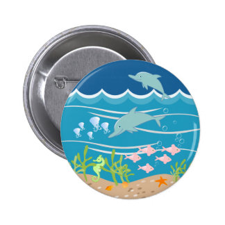 Mermaid and dolphins birthday party 2 inch round button