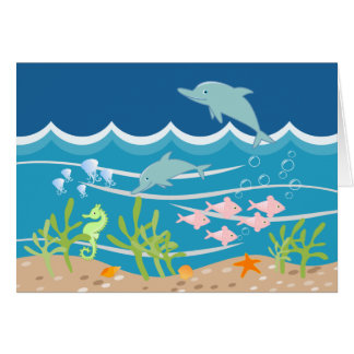 Mermaid and dolphins birthday party card