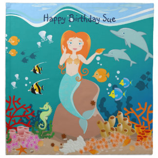 Mermaid and dolphins birthday party napkins