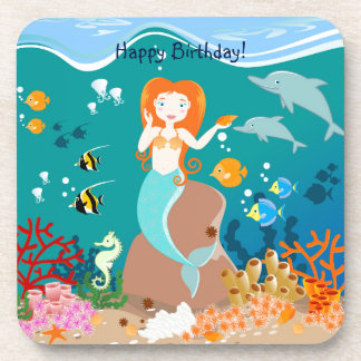 Mermaid and dolphins birthday party drink coasters