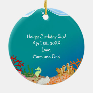 Mermaid and dolphins birthday party Double-Sided ceramic round christmas ornament