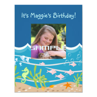 Mermaid and dolphins birthday party 4.25x5.5 paper invitation card