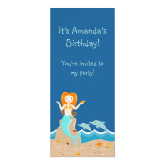 Mermaid and dolphins birthday party 10 cm x 24 cm invitation card
