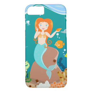 Mermaid and dolphins birthday party iPhone 7 case