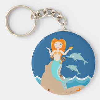 Mermaid and dolphins birthday party basic round button keychain