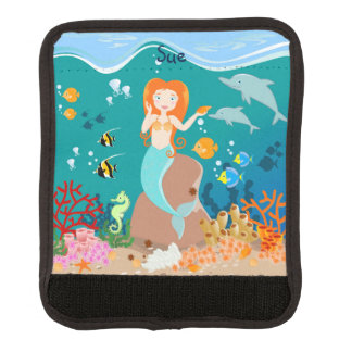 Mermaid and dolphins birthday party luggage handle wrap