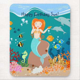 Mermaid and dolphins birthday party mouse pad