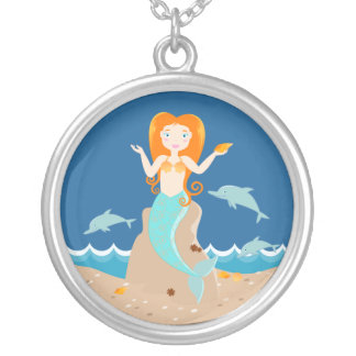 Mermaid and dolphins birthday party round pendant necklace