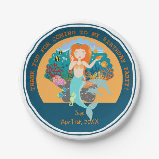 Mermaid and dolphins birthday party 7 inch paper plate