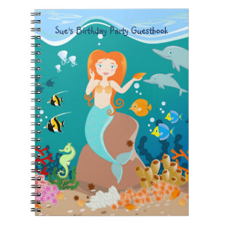 Mermaid and dolphins birthday party spiral notebook