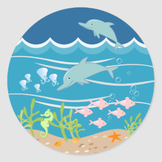 Mermaid and dolphins birthday party round sticker