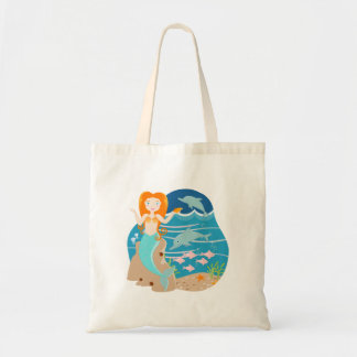Mermaid and dolphins birthday party tote bag