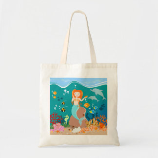 Mermaid and dolphins birthday party budget tote bag