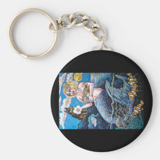 mermaid and her dog basic round button key ring