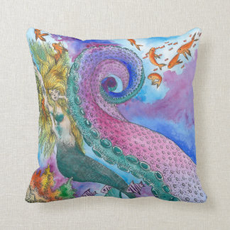 Mermaid and Kracken Throw Cushion