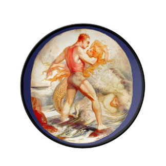 Mermaid and Man Porcelain Plate