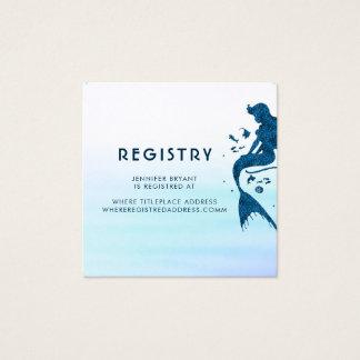 Mermaid and Ocean Watercolors Registry Square Business Card