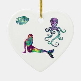 Mermaid and Octopus, beach, ocean, mermaids Christmas Ornament