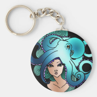mermaid and octopus key ring