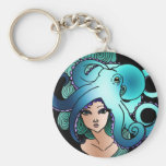 mermaid and octopus keychain