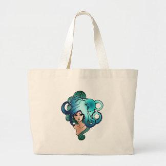 mermaid and octopus large tote bag