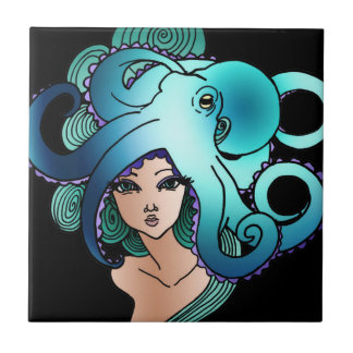 mermaid and octopus small square tile