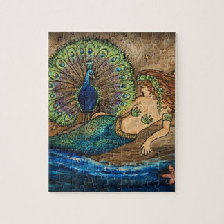 Mermaid and Peacock Jigsaw Puzzle