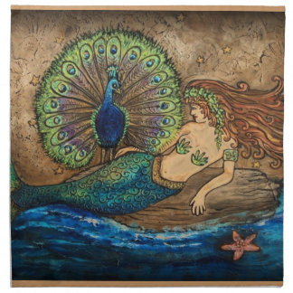 Mermaid and Peacock Napkin