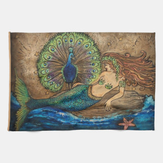 Mermaid and Peacock Tea Towel