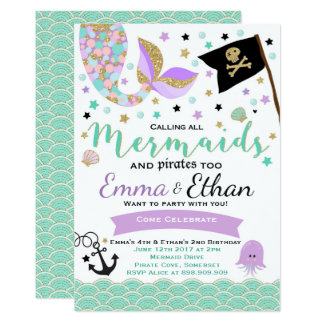 Mermaid And Pirate Birthday Invitation Joint Party