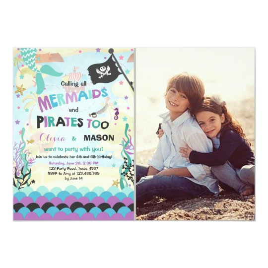 Mermaid and pirate birthday invitation siblings zazzle mermaid and pirate birthday invitation siblings stopboris Image collections