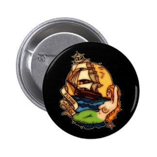 Mermaid and Pirate Ship 6 Cm Round Badge