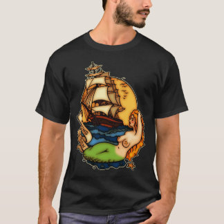 Mermaid and Pirate Ship T-Shirt