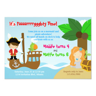 Mermaid and Pirate Twins Joint Birthday Party 13 Cm X 18 Cm Invitation Card