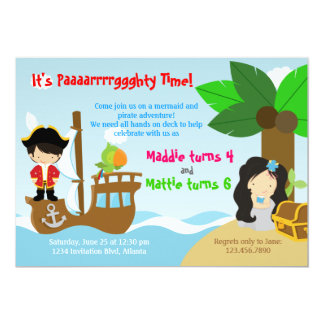 Mermaid and Pirate Twins Joint Birthday Party Announcement