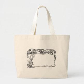 Mermaid and Seagulls Large Tote Bag
