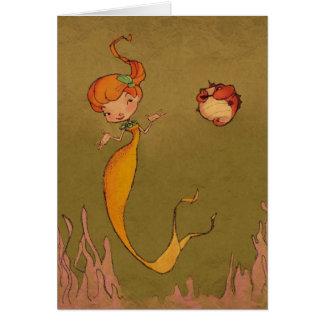 mermaid and seahorse card