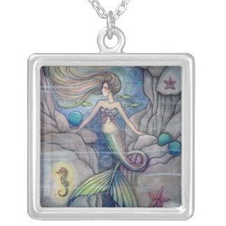 Mermaid and Seahorse Fantasy Art by Molly Harrison Square Pendant Necklace