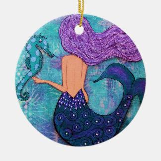 Mermaid and Seahorse Ornament