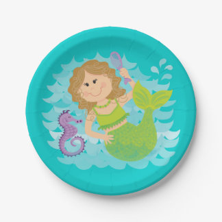 Mermaid and Seahorse Paper Plate