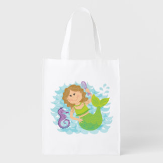 Mermaid and Seahorse Reusable Grocery Bag