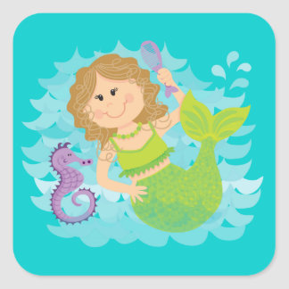 Mermaid and Seahorse Square Sticker