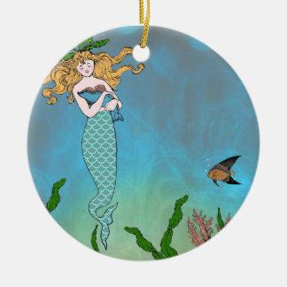 Mermaid and seal round ceramic decoration