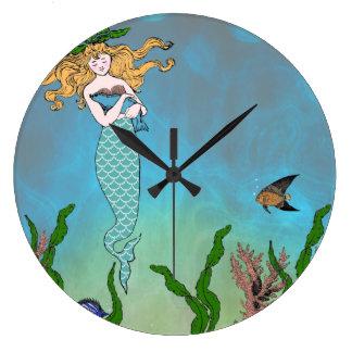 Mermaid and seal large clock