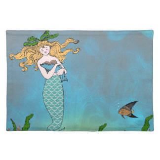 Mermaid and seal placemat