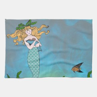 Mermaid and seal tea towel