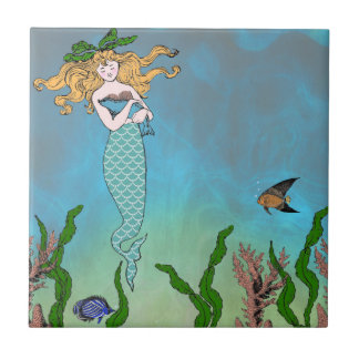 Mermaid and seal small square tile