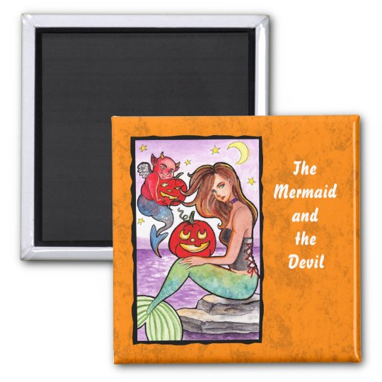 Mermaid and the devil square magnet